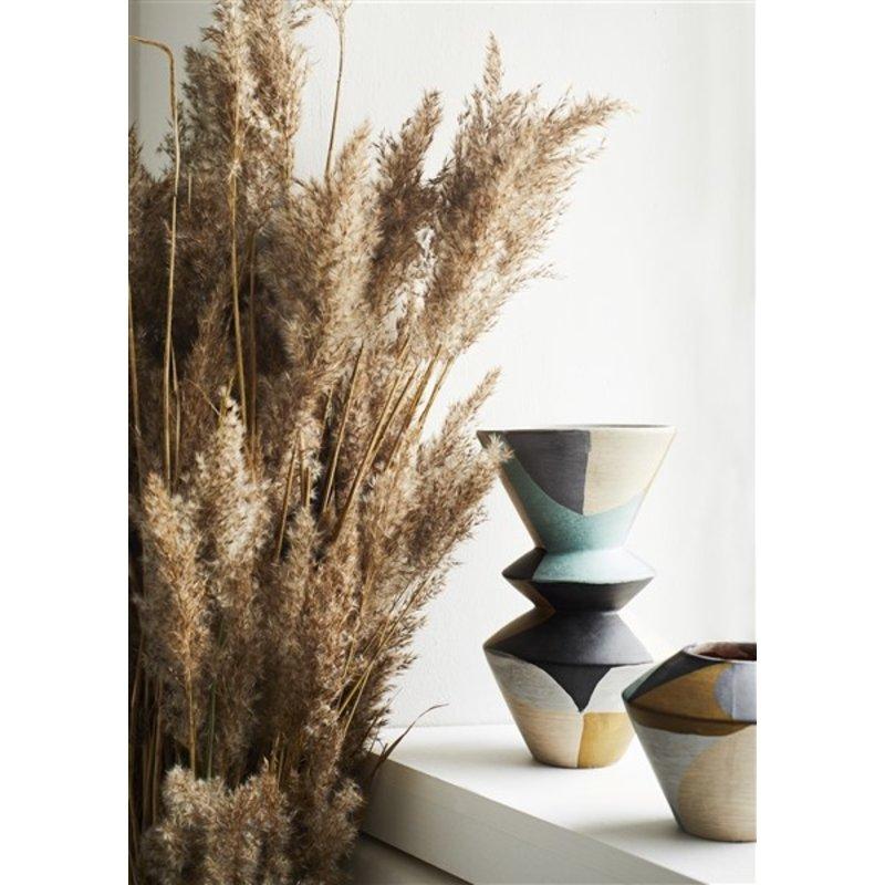 Madam Stoltz-collectie Terra cotta vase - Grey, black, nude, mustard, liquen