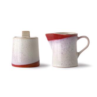 HKliving Keramische jaren 70 melkkannetje en suikerpotje