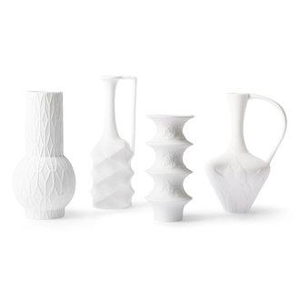 HKliving Mat witte porseleinen vazen (set van 4)