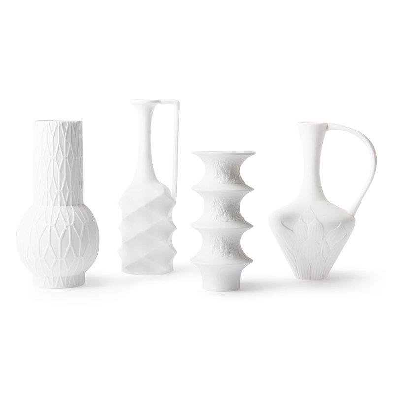 HKliving-collectie Matt white porcelain vases (set of 4)