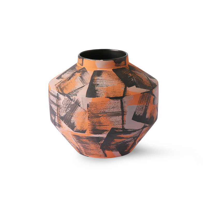 HKliving-collectie Hand brushed ceramic vase orange/black