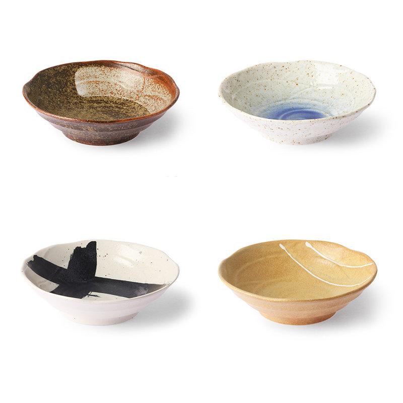 HKliving-collectie Japanse ondiepe schaaltjes (set van 4)