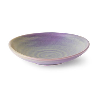 HKliving Home chef ceramics: flat bowl purple/green