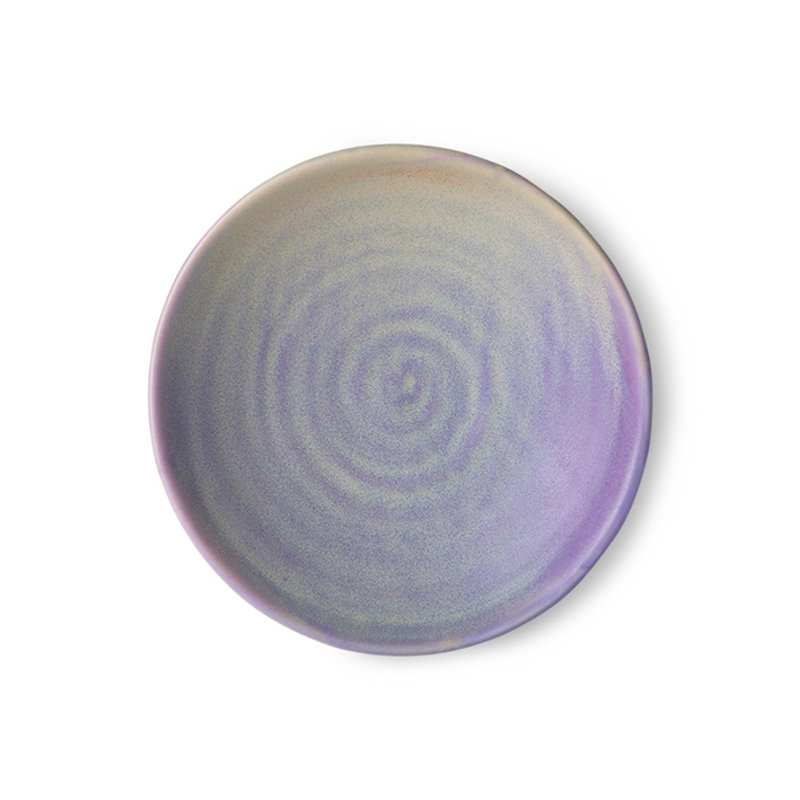 HKliving-collectie Home chef ceramics: flat bowl purple/green