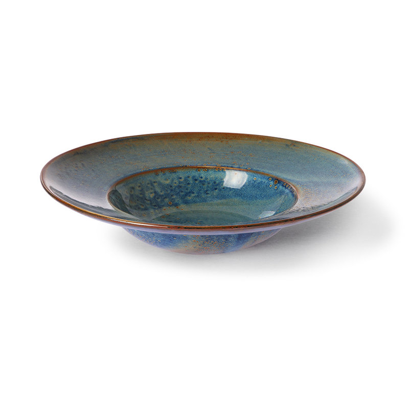 HKliving-collectie Home chef ceramics: pasta plate rustic blue