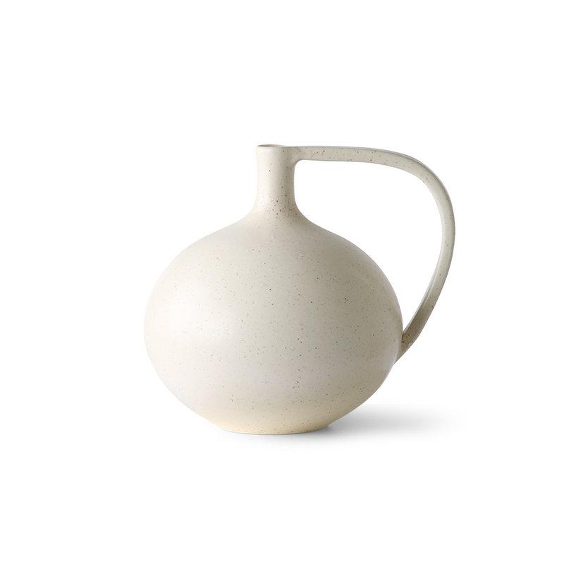 HKliving-collectie Ceramic jar M white speckled