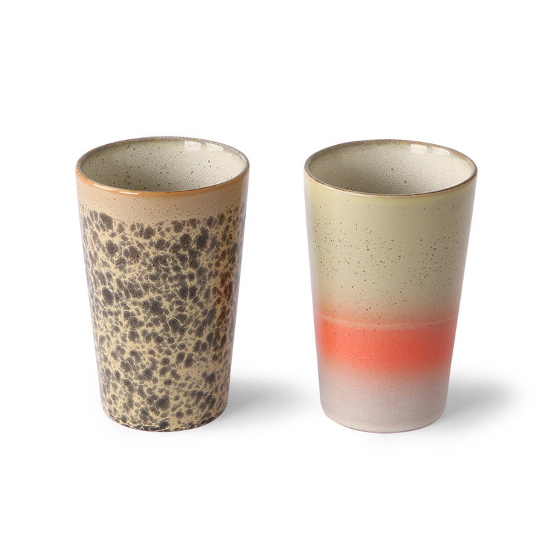 HKliving-collectie Ceramic 70's tea mugs (set of 2)