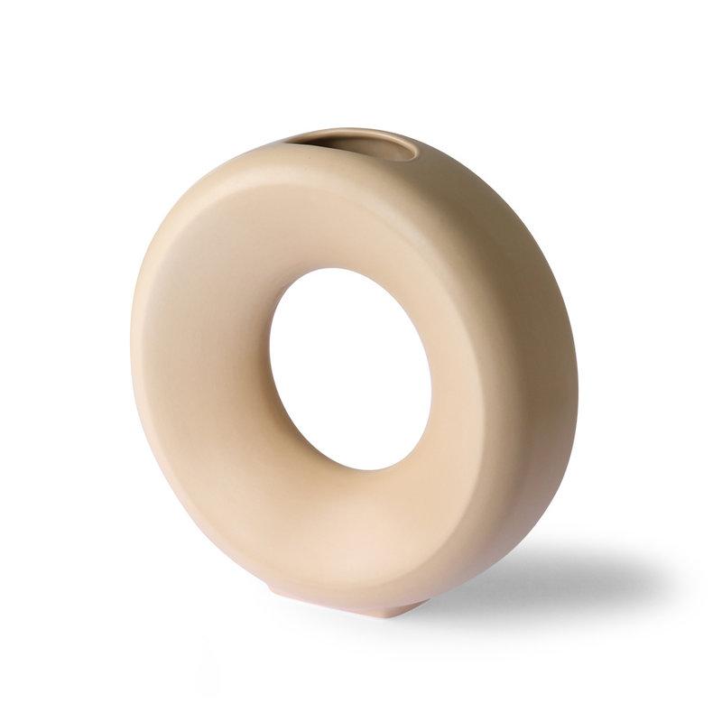 HKliving-collectie Ceramic circle vase L sand