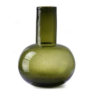 HKliving Groen glazen vaas L