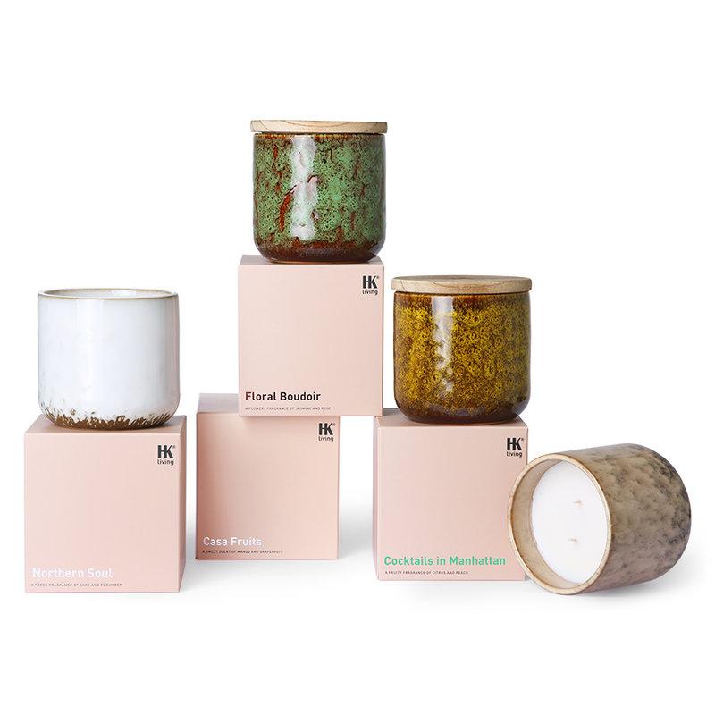 HKliving-collectie Keramiek geurkaars: bloemen boudoir