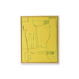 HKliving Framed brutalism painting yellow 40x50cm