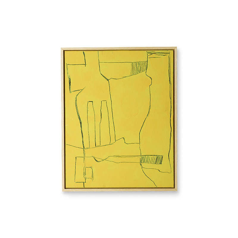 HKliving-collectie Framed brutalism painting yellow 40x50cm