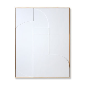 HKliving Framed relief art panel white A (97x120)