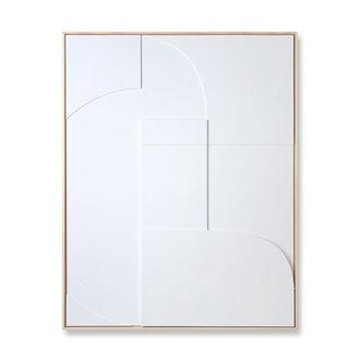 HKliving Ingelijste reliëfkunst paneel wit A (97x120)