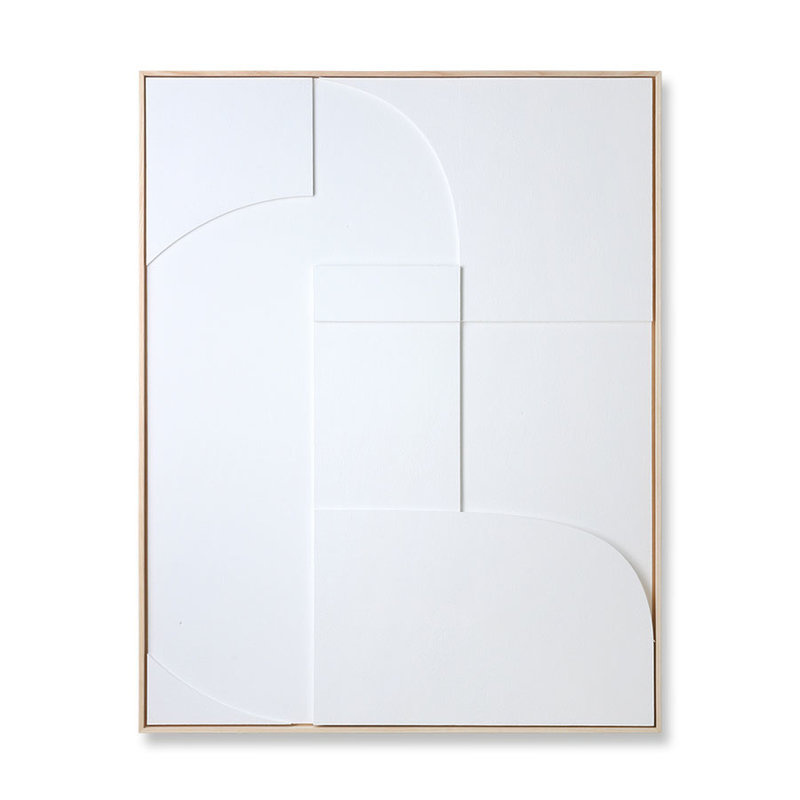 HKliving-collectie Framed relief art panel white A (97x120)