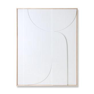 HKliving Ingelijste reliëfkunst paneel wit B extra large (97x120)