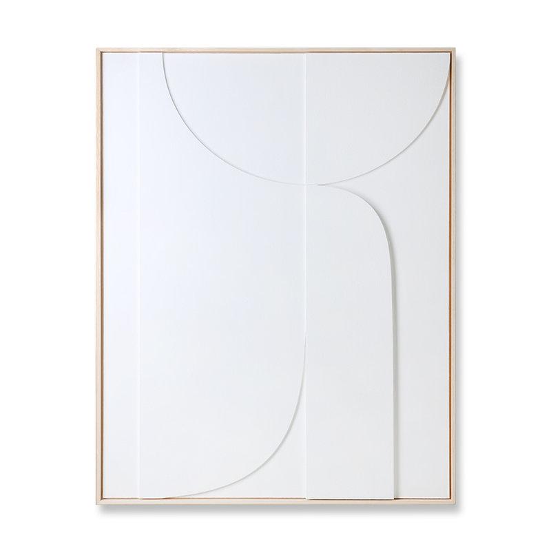 HKliving-collectie Ingelijste reliëfkunst paneel wit B extra large (97x120)