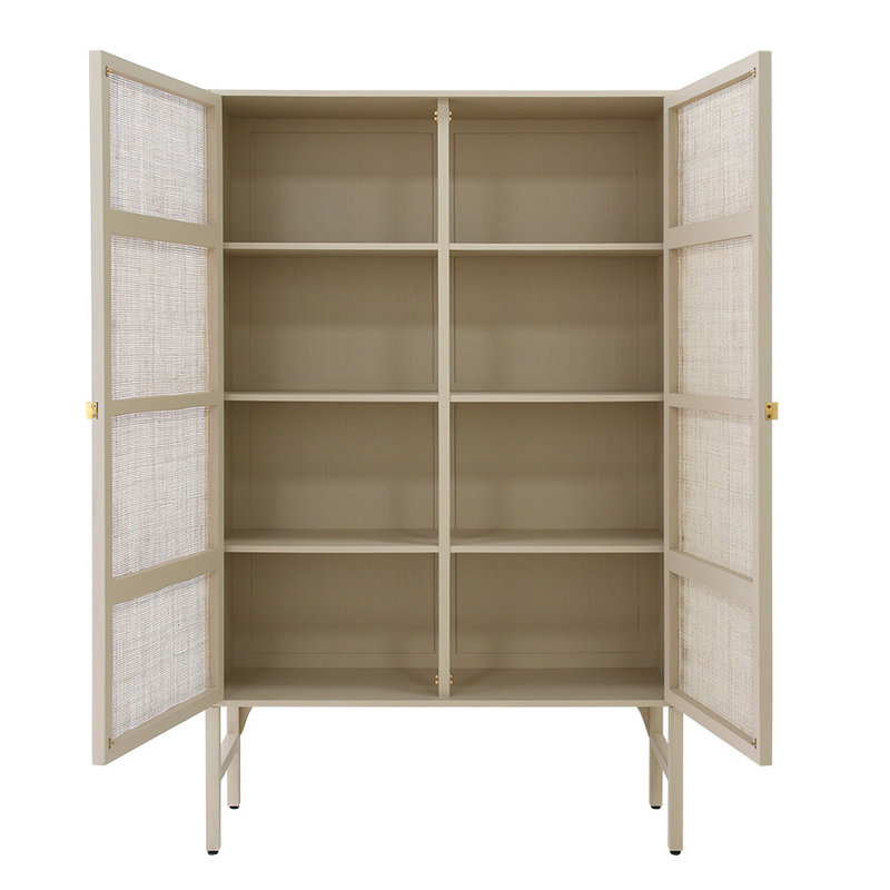HKliving-collectie Retro webbing cabinet sand with shelves