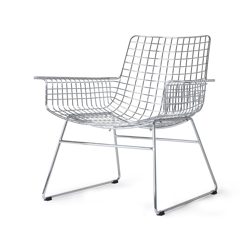 HKliving-collectie Metal wire lounge chair chrome with seat cushion