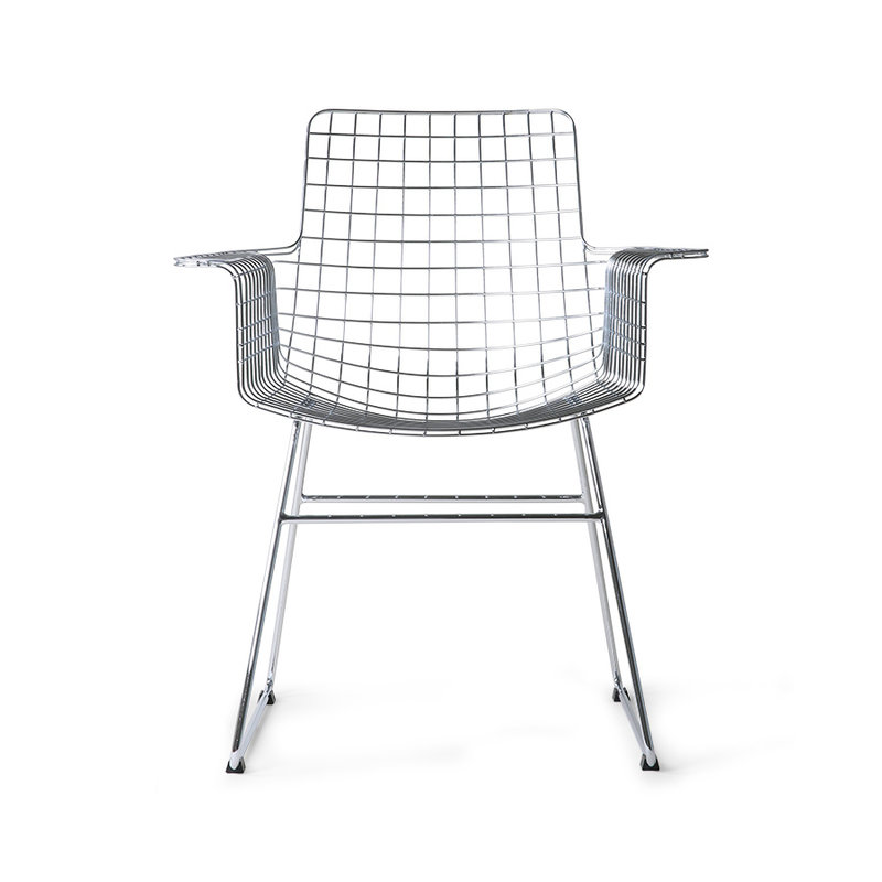 HKliving-collectie Metal wire chair with arms chrome