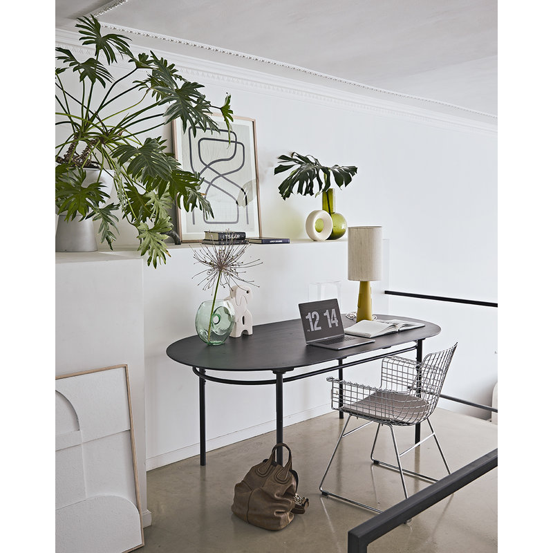 HKliving-collectie Metalen draadstoel met armleuningen chroom