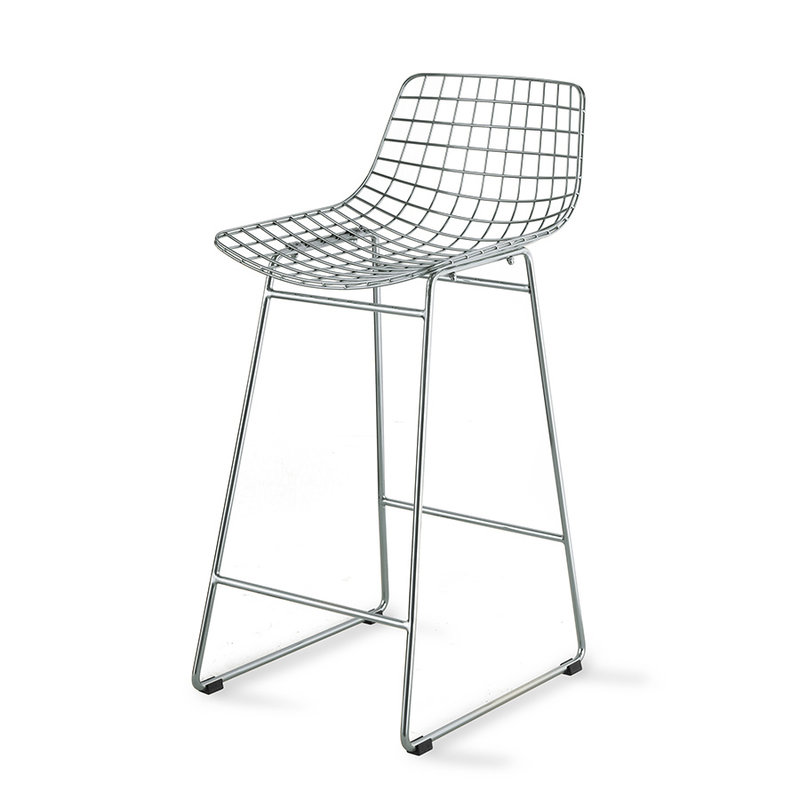HKliving-collectie Metal wire bar stool chrome