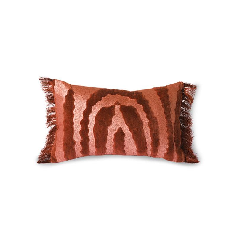 HKliving-collectie Fluwelen tijgerkussen rood (25x40)