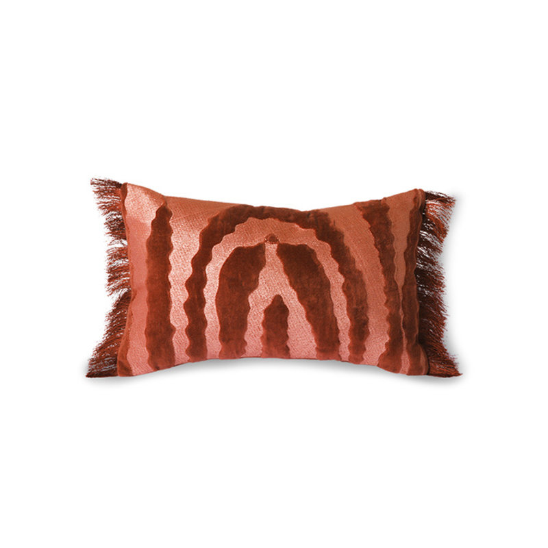 HKliving-collectie Fringed velvet tiger cushion red (25x40)