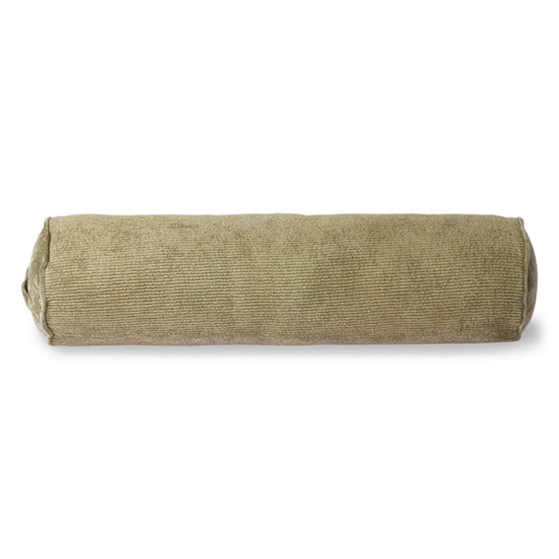 HKliving-collectie Corduroy bolster cushion army green (20x70)