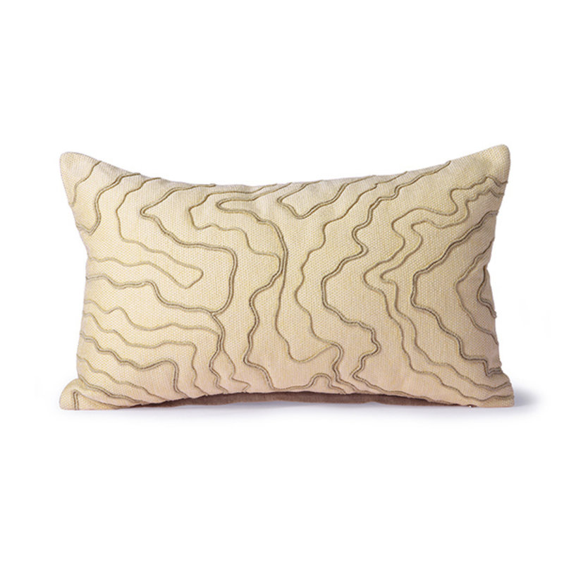 HKliving-collectie Cream cushion with stitched lines (30x50)