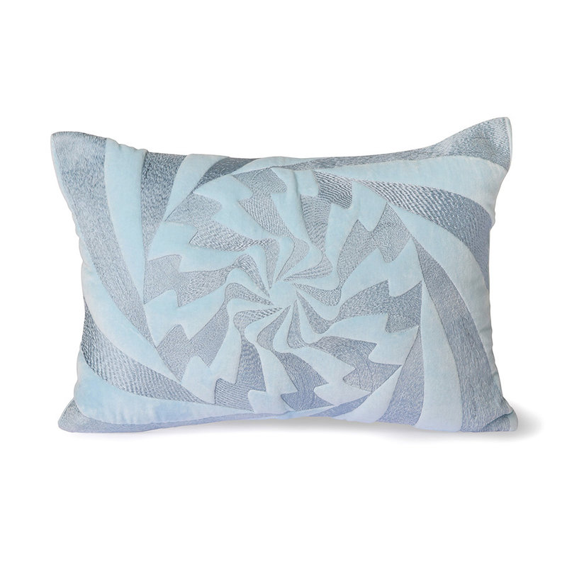 HKliving-collectie Graphic embroidered cushion ice blue (35x50)