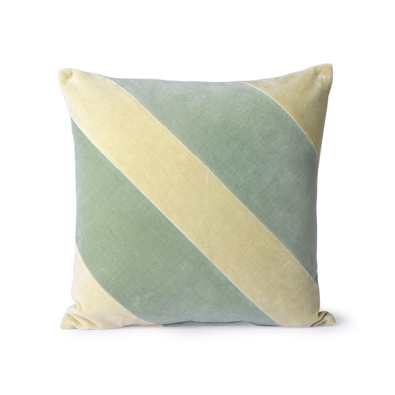 HKliving-collectie Striped velvet cushion mint/green (45x45)