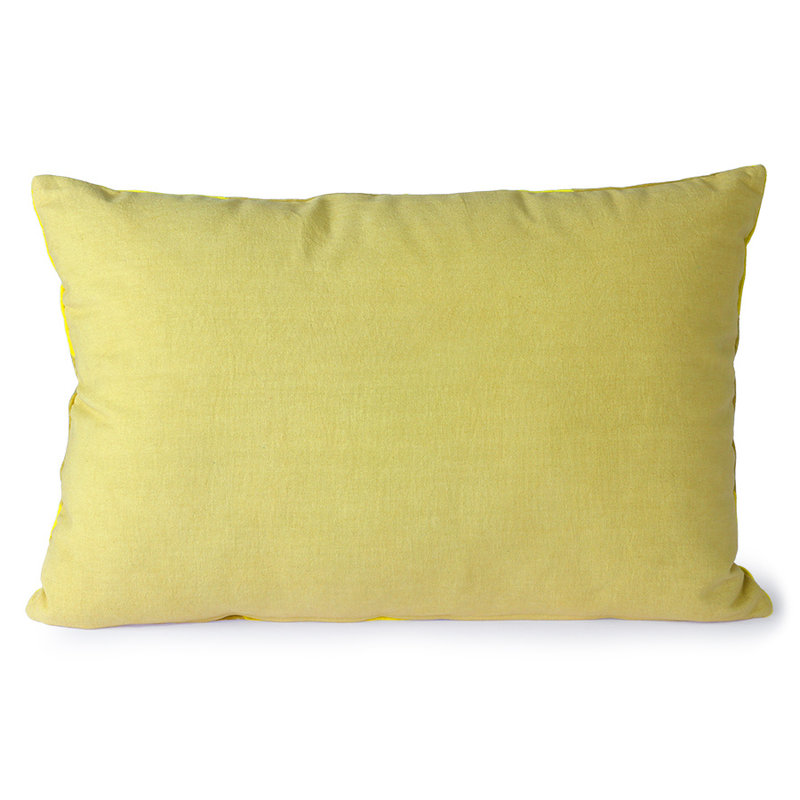 HKliving-collectie Striped velvet cushion yellow/green (40x60)