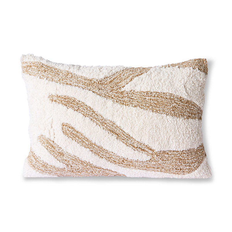 HKliving-collectie Fluffy cushion white/beige (35x55)