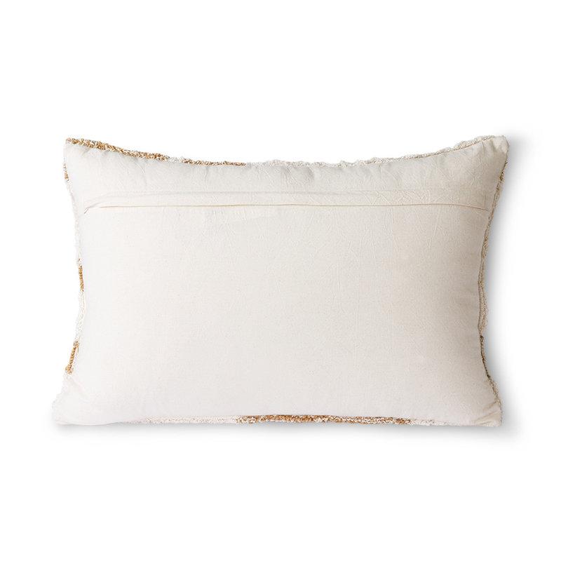 HKliving-collectie Pluizig kussen wit / beige (35x55)
