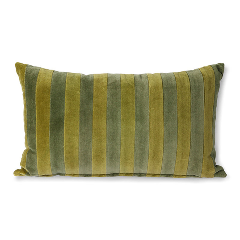 HKliving-collectie Striped velvet cushion green/camo (30x50)