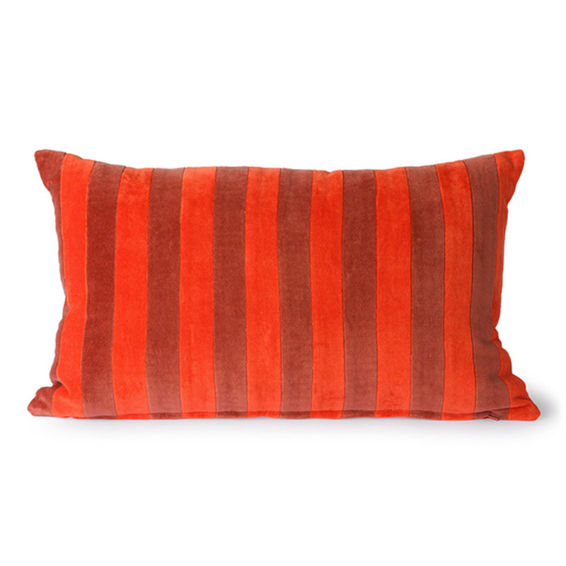 HKliving-collectie Striped velvet cushion red/bordeaux (30x50)