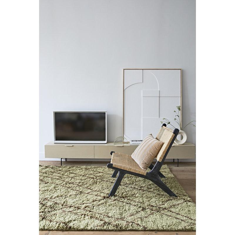 HKliving-collectie Olive woolen rug brown zigzag (180x280)