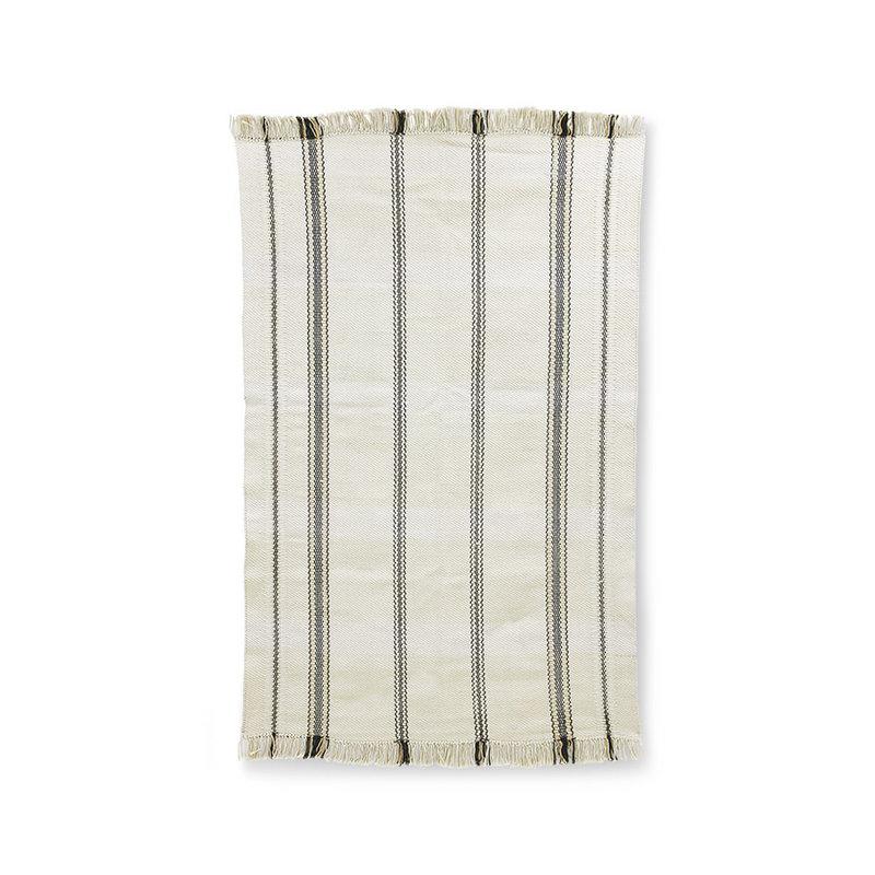 HKliving-collectie Handgeweven vloerkleed zwart / witte strepen (150x240)