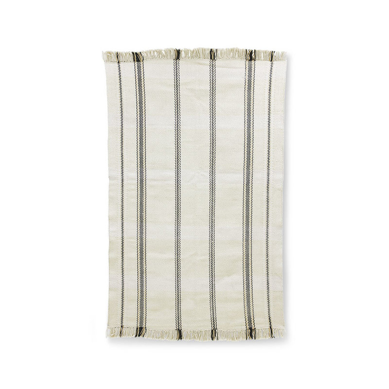 HKliving-collectie Handwoven rug black/white stripes (150x240)