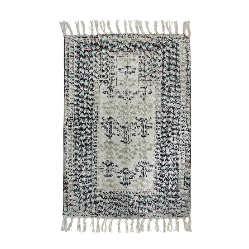 HKliving-collectie Printed bathmat black/white overtufted (60x90)