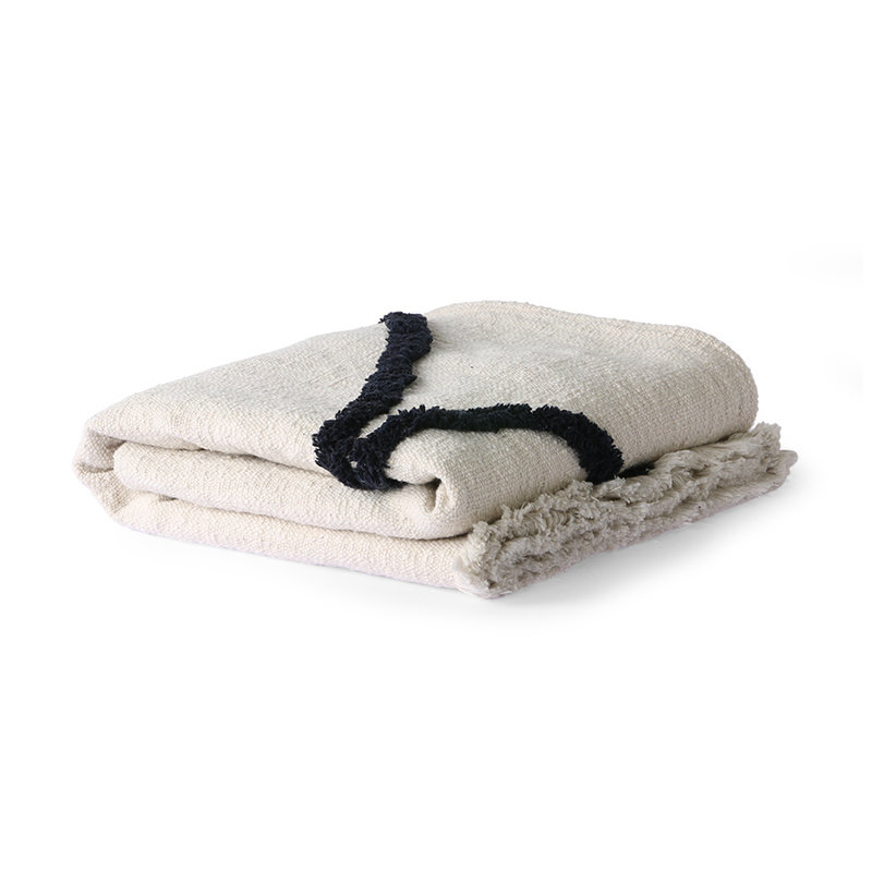 HKliving-collectie Throw tufted black lines (130x170)