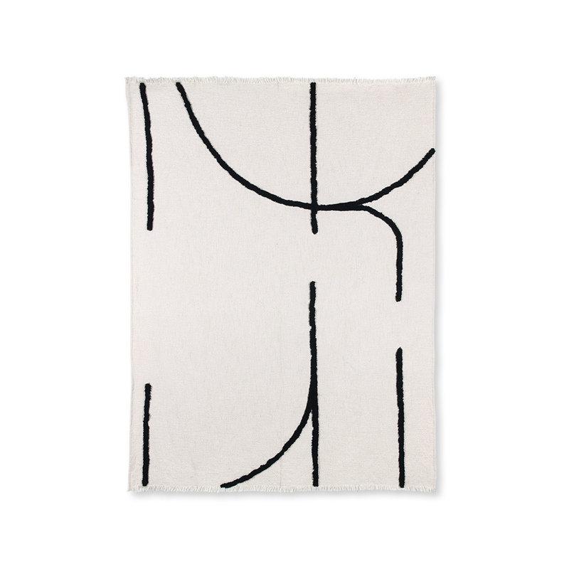 HKliving-collectie Plaid naturel met zwarte lijnen (130x170)