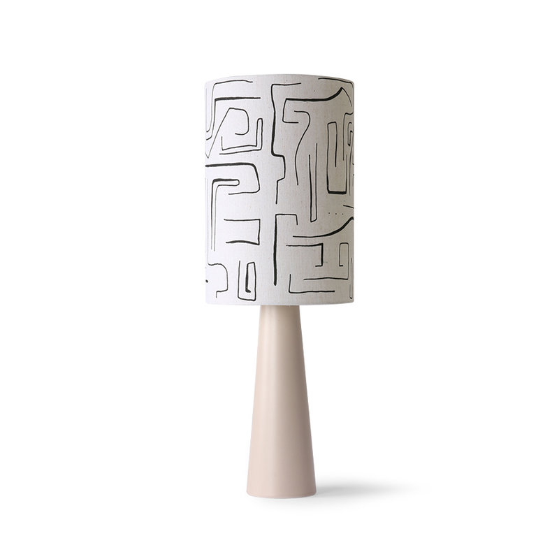 HKliving-collectie Printed cilinder lamp shade black lines ø24,5