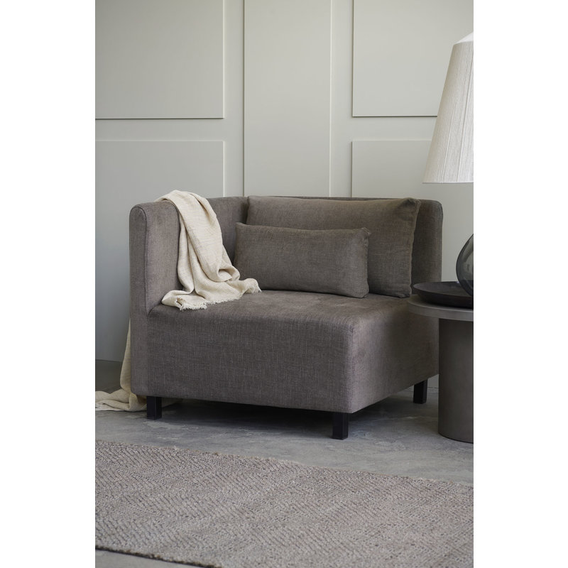 House Doctor-collectie Sofa, Corner section, Hazel Night, Grey/Brown, Seat height: 44 cm, Incl. 2 Pillows