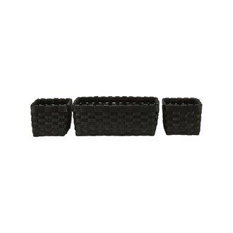 House Doctor Basket, Edition, Black, Set of 3 pcs/ 2 sizes