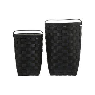House Doctor Basket w. lid, Edition, Black, Set of 2 sizes