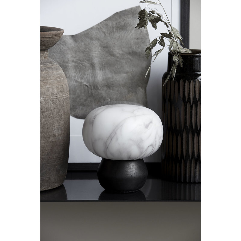 House Doctor-collectie Lantern, Fog, Black/White marble