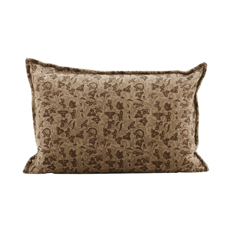 House Doctor-collectie Pillowcase, Velv, Light brown, Print will vary
