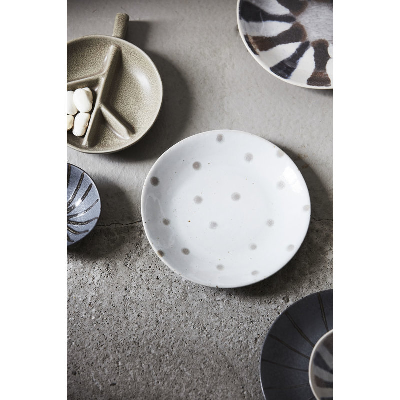 House Doctor-collectie Plate, Dots, White w. green dots